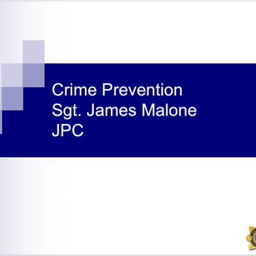 Crime Prevention Presentation February Joint Policing Forum Meeting